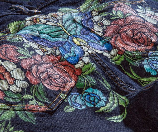 Printing embroidery simulations